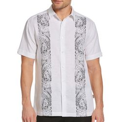 Cubavera Mens Flamingo Print Panel Shirt