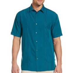 Cubavera Mens Geo Print Embroidery Shirt