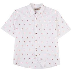 CAMPIA Mens Untucked Flamingo Print Short Sleeve Shirt