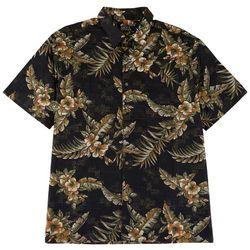 Boca Classics Mens Hibiscus Print Button Down Shirt