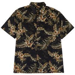 Mens Hibiscus Print Button Down Shirt