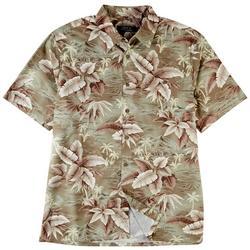 Mens Tropical Print Button Down Collared Shirt