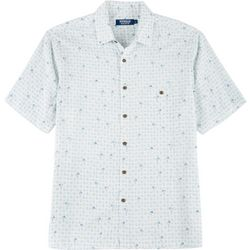 Windham Pointe Mens Palm Tree & Geometric Button Down Shirt