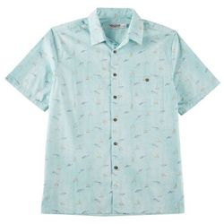 Windham Pointe Mens Fish Print Short Sleeve Shirt