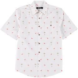 Mens Flamingo Button Down Collared Shirt