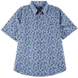 Mens Leaf Woven Collared Shirt