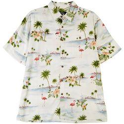Boca Classics Mens Flamingo Palm Button Down Collared Shirt