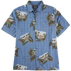 Mens Sailboat Postcard Button Down Shirt