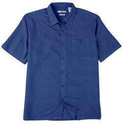 CAMPIA Mens Solid Crepe Short Sleeve Shirt