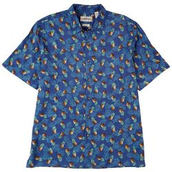 CAMPIA Mens Pineapple Print Short Sleeve Shirt