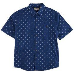 CAMPIA Mens Untucked Anchor Print Short Sleeve Shirt