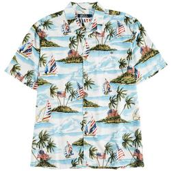 Mens Amercian Flag Island Button Down  Shirt