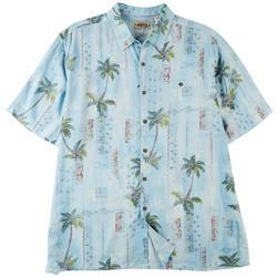 Mens Palm Print Short Sleeve Shirt