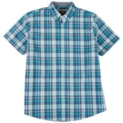 Mens Plaid Poplin Button Down Short Sleeve Shirt