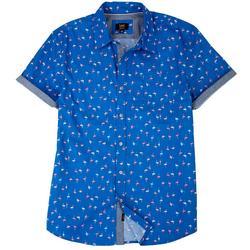 Mens Danny Flamingo Button Up Collared Shirt