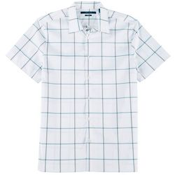 Perry Ellis Mens Checkered Button Down Short Sleeve Shirt