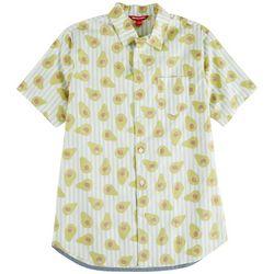 Unionbay Mens Boardwalk Avacado Stripe Poplin Shirt