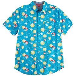 Unionbay Mens Boardwalk Flamingo Beach Ball Poplin Shirt