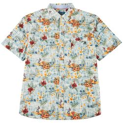 Caribbean Joe Mens Hula Girl Button Down Shirt