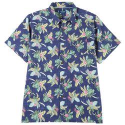 Caribbean Joe Mens Tropical Plant Button Down Shirt