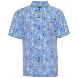 Caribbean Joe Mens Tiki Print Button Down Shirt
