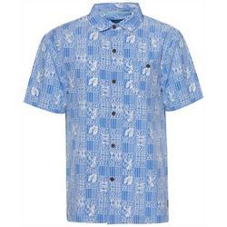 Mens Tiki Print Button Down Shirt