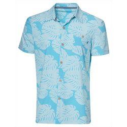 Caribbean Joe Mens Palm Leaf Print Button Down Shirt