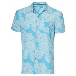 Mens Palm Leaf Print Button Down Shirt