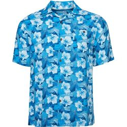 Caribbean Joe Mens Aloha Blue Floral Button Down Shirt