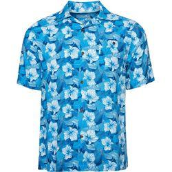Caribbean Joe Mens Aloha Blue Floral Button Down
