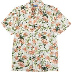 Caribbean Joe Mens Fronds Print Short Sleeve Button Up Top