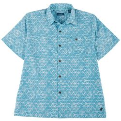 Caribbean Joe Mens Triangle Short Sleeve Button Up Top