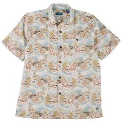 Caribbean Joe Mens Island Short Sleeve Button Up Top