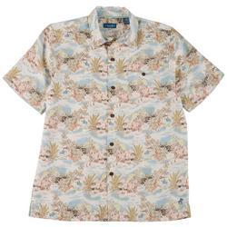 Mens Island Short Sleeve Button Up Top
