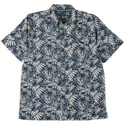 Mens Floral Short Sleeve Button Up Top
