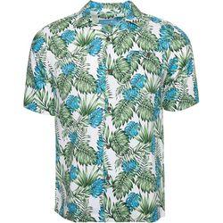 Caribbean Joe Mens Palm Leaf Camp Button Down Shirt