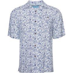 Caribbean Joe Mens Mini Floral Camp Button Down Shirt