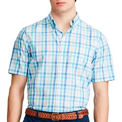 Chaps Mens Plaid Button Down Short Sleeve Shirt