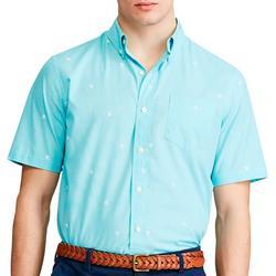 Mens Hibiscus Button Down Short Sleeve Shirt