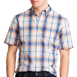 Mens Linear Stripe Button Down Short Sleeve Shirt