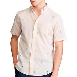 Mens Linear Seahorse Button Down Short Sleeve Shirt
