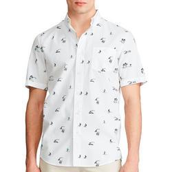Mens Surfer Button Down Short Sleeve Shirt