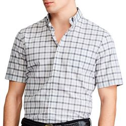 Chaps Mens Short Sleeve Gingham Button Down Shirt