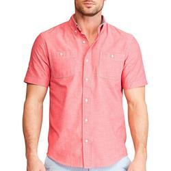 Mens Chambray Button Down Short Sleeve Shirt