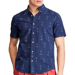 Chaps Mens Anchor Button Down Short Sleeve Shirt