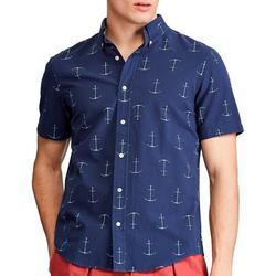 Mens Anchor Button Down Short Sleeve Shirt