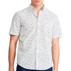 Mens Ditzy Button Down Short Sleeve Shirt