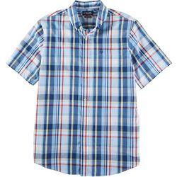 Chaps Mens Short Sleeve Poplin Woven Plaid Shirt