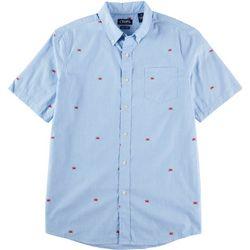 Chaps Mens Short Sleeve Poplin Crab Print Woven Shirt