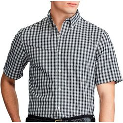 Chaps Mens Short Sleeve Plaid Print Woven Shirt
